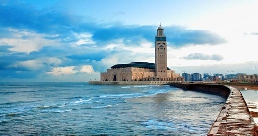 Hassan II Mosque in Casablanca is seen on your Morocco Tour
