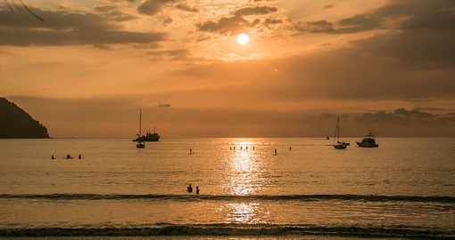 Enjoy sunsets on the beach on your trip to Costa Rica