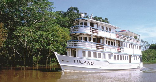 The M/Y Tucano is designed to voyage deep into the Rain Forest of the Amazon