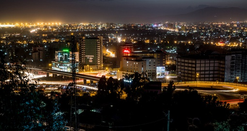 Experience the beautiful city Addis Ababa at night during your next trip to Ethiopia.