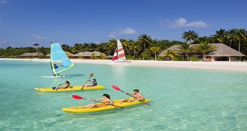 Go kayaking at the Veligandu Island Resort during your Maldives trip