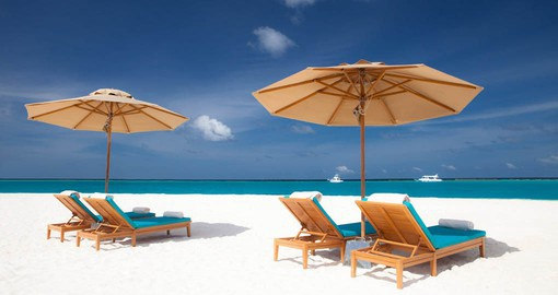 The Sun Siyam Iru Fushi is surround by white sand beaches