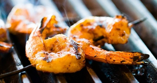 Shrimp on the barbie - always a popular dining event on Australia tours.