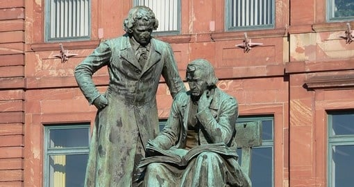 Grimm Brothers sculpture in Hanau city