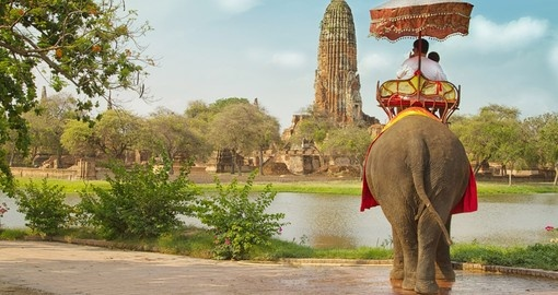 Elephant ride through the ancient city of Ayutaya