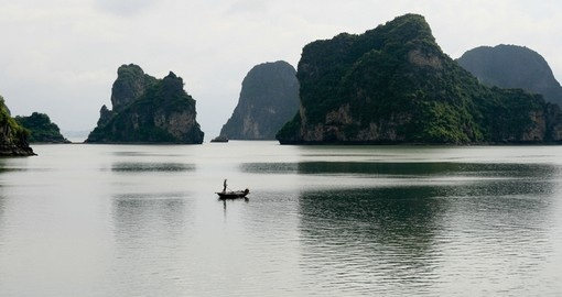 Halong Bay features thousands of limestone karsts and isles