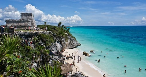 Visit ancient Tulum on the sunny shores of the Mayan Riveria on your Mexico Tour