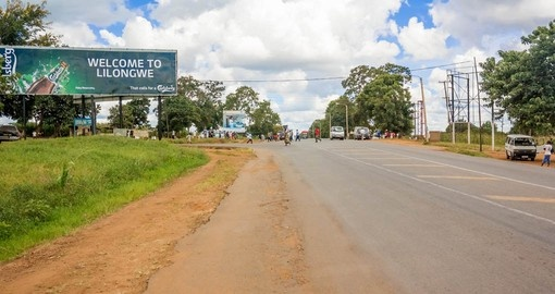 Welcome sign on the road to Lilongwe
