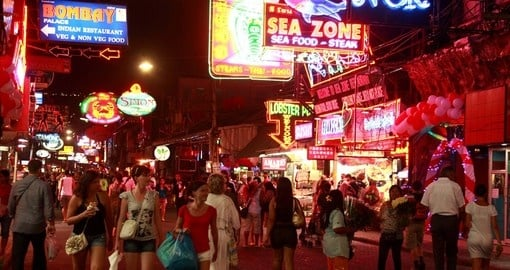 Crowd walking the streets of Pattaya