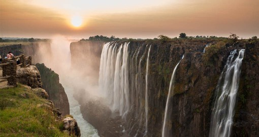 One of the greatest attractions in Africa and one of the most spectacular waterfalls in the world, Victoria Falls is located on the Zambezi River