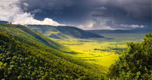 Ngorongoro is a deep, volcanic crater, the largest un flooded and unbroken caldera in the world