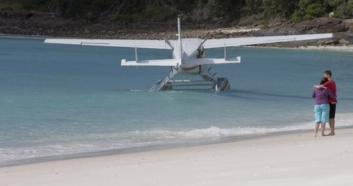 Sea plane anchored on Whitehaven Beach