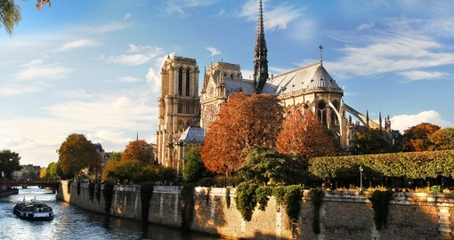 Notre Dame with Boat on Seine in Paris