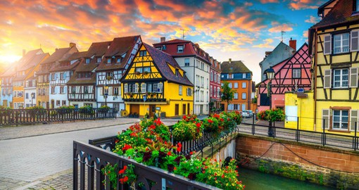Colmar, the most Alsatian city of Alsace is nestled among vineyards