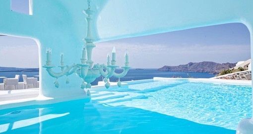 Enjoy Infinity pool at the lodge during your stay in Santorini.