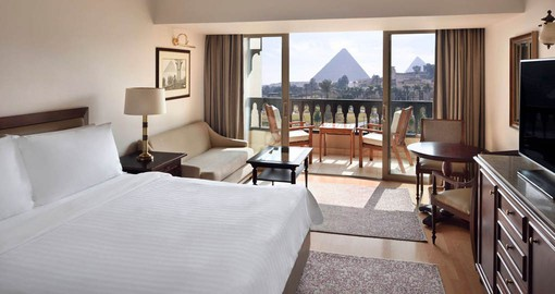 Enjoy views of the Great Pyramids from the rooms at the Mena House of your Egypt Vacation