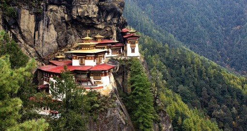 Marvel at the ancient Tigers Nest Monastery on your Bhutan Vacation