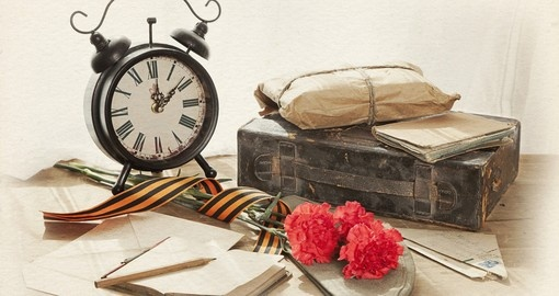 Still life with vintage objects dedicated to Victory Day
