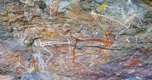 Aboriginal rock paintings in Kakadu National Park - a great photo opportunity on all Australia vacations.