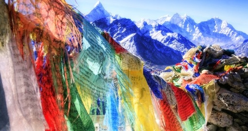 Prayer flags - commonly seen throughout all Bhutan vacations