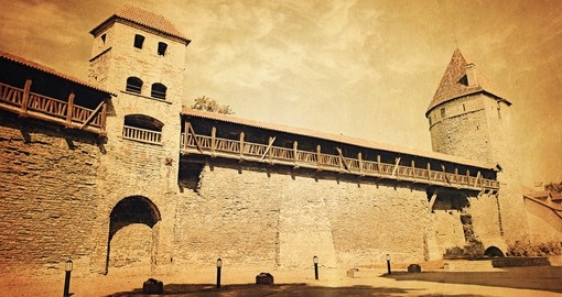 Old photo of fortification towers