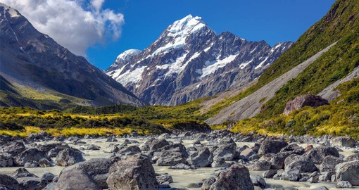 Aoraki Mount Cook National Park is home to New Zealand's highest mountains and longest glaciers