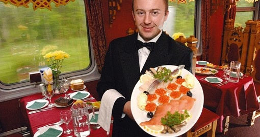 Enjoy caviar and vodka tasting on board the train