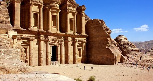 Facade of monastery at Petra, Jordan - A must inclusion for all Jordan Tours