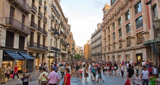 A shopping street in Barcelona
