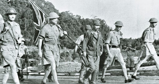 Singapore falls, the British surrender, 15 February 1942