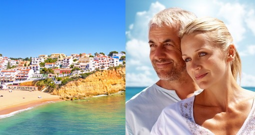 split image of couples face and Algarve beach