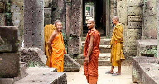 Walk alongside monks in the Temple Preah Khan on you Cambodia Trip