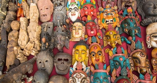 Masks and souvenirs from a street shop