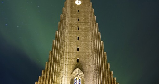 Northern lights shining over Hallgrimskirkja Church