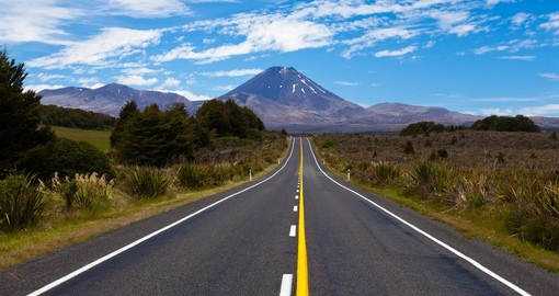 Highway leading to the active volcano in Tongariro