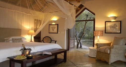 Sleep in comfort during your stay at Thornybush Game Lodge in South Africa