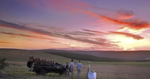 Sunset game drives at Gorah Elephant Camp in South Africa.