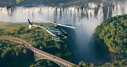 Experience Victoria Falls from a Flight of Angels Helicopter as part of your Zimbabwe Safari