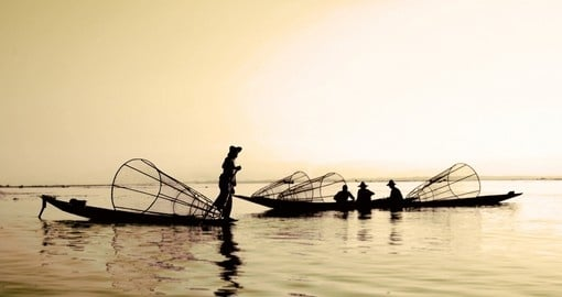 Fishermen on Inle Lake - a great photo opportunity while on your Myanmar tour.