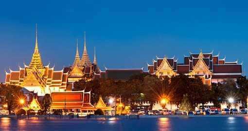 The Grand Palace of Bangkok at night is a stunning inclusion for your Thailand vacation.