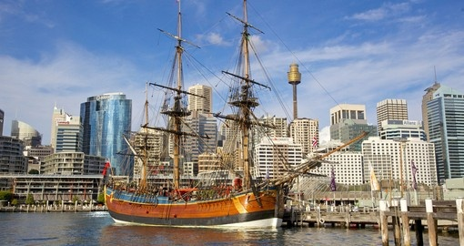 The replica of James Cooks HMS Endeavour - a great photo opportunity on your Australia vacation.