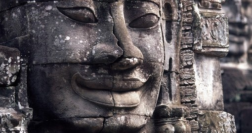 A Buddha Face at Angkor Wat - a great photo opportunity on all Angkor Wat tours.