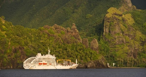 On your Tahiti Vacation cruise along the ocean aboard the Aranui 5 ship