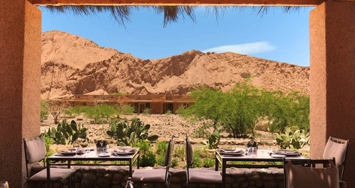 Enjoy dinner with a desert view during your vacation in Chile