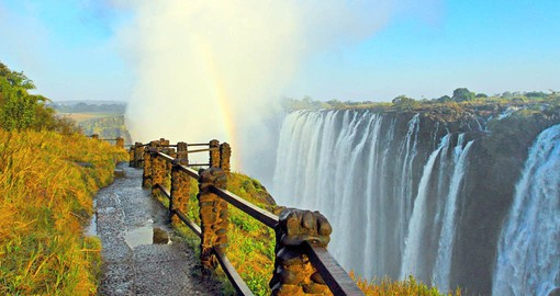 On the boarder between Zimbabwe and Zambia, the Victoria Falls are the largest curtain of water in the world