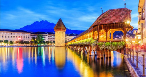 Your switzerland vacation begins in Lucerne, famous for the Chapel Bridge and Tower