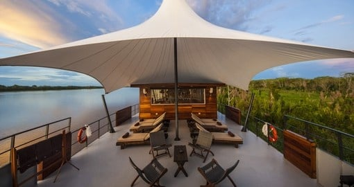 Enjoy Aria Outdoor Lounge during your cruise in Peru