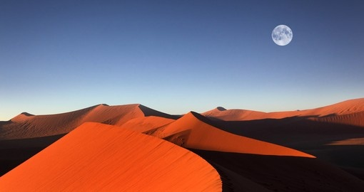 Red sand dune with full moon, Sossusvlei
