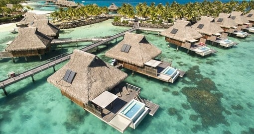 Stay in one of 18 overwater villas that feature an infinity plunge pool during your next trip to Bora Bora.