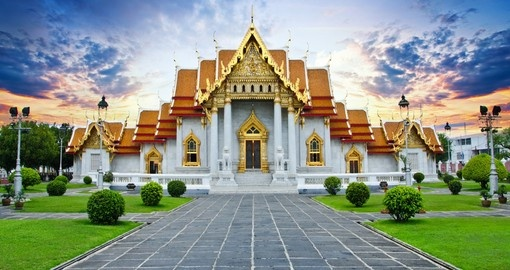 Enjoy the serenity of Wat Benchamabophit Temple on one of the many Thailand Tours